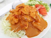 Stir fry Chili sauce Shrimps stock images