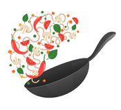 Stir fry. Cooking process vector illustration. Flipping Asian noodles in a pan. Cartoon style. Flat Royalty Free Stock Images