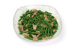 Stir fry cowpea and pork Royalty Free Stock Photography