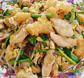 Stir fry fish maw with egg and vegetable Stock Photos