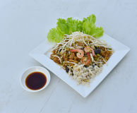 Stir-Fry Fish Maw. Stir fry fish maw with shrimp and crab  and vegetable in chinese style Royalty Free Stock Images