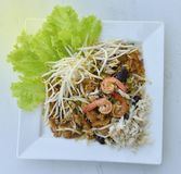 Stir-Fry Fish Maw. Stir fry fish maw with shrimp and crab  and vegetable in chinese style Stock Photo