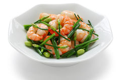 Stir-fry flowering chinese chives with prawns Royalty Free Stock Photography