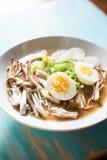 Stir-fry ingredients. Mushrooms, leek, daikon stock photo