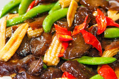 Stir Fry Lamb Meat With Vegetables Stock Photo