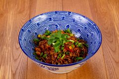 Stir fry noodle. Wok Stir fry noodle with chicken stock photography