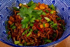 Stir fry noodle. Wok Stir fry noodle with chicken royalty free stock photography