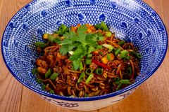 Stir fry noodle. Wok Stir fry noodle with chicken stock images