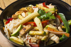Stir fry noodles with meat and vegetables Stock Photos