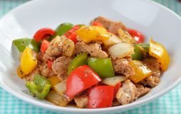 Stir fry pork with pepper chilli Stock Photography