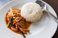 Stir fry pork spicy sauce with vegetable Stock Photos