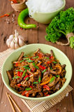Stir Fry Pork, Sweet Peppers, Onions And Garlic Royalty Free Stock Photo