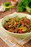 Stir fry pork, sweet peppers, onions and garlic Royalty Free Stock Images