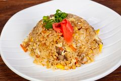 Stir fry rice with chicken. And vegetables royalty free stock photo
