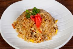 Stir fry rice with chicken. And vegetables stock image