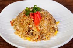 Stir fry rice with chicken. And vegetables royalty free stock images