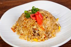 Stir fry rice with chicken. And vegetables stock images