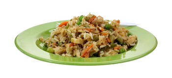 Stir Fry Rice Chicken Vegetables Green Plate Royalty Free Stock Photography