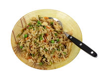 Stir Fry Rice Chicken Vegetables Serving Bowl Stock Image