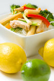 Stir fry with rice noodles Stock Photos