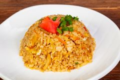 Stir fry rice with vegetables. And spices stock image