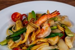 Stir fry with seafood. And vegetables royalty free stock images