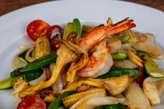 Stir fry with seafood. And vegetables royalty free stock image