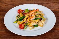 Stir fry with seafood royalty free stock photo