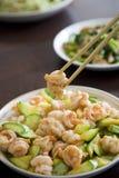 Stir-fry shrimp Royalty Free Stock Images