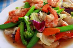 Stir Fry Shrimp with colorful Vegetables. Close-up of colorful stir fry of shrimp and clolorful Vegetables, Thai food Royalty Free Stock Photos
