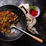 Stir-fry soba noodles with beef Stock Images