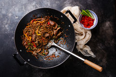 Stir-fry soba noodles with beef Stock Photo