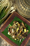 Stir fry Spilt Gill Fungus with white chillies and local onion. Royalty Free Stock Images