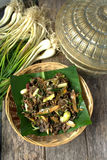 Stir fry Spilt Gill Fungus with white chillies and local onion. Stock Images