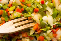 Stir fry. And stick fork Royalty Free Stock Photo