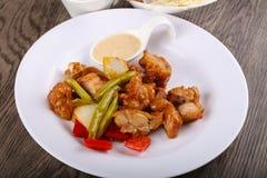 Stir fry teriyaki pork. Stir fry teriyaki sauce pork with vegetables royalty free stock photo