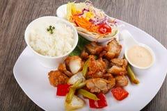 Stir fry teriyaki pork. Stir fry teriyaki sauce pork with vegetables royalty free stock photos