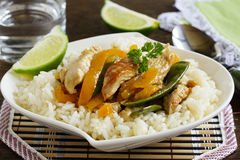 Stir-fry with Turkey. And vegetables royalty free stock photo