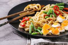 Stir fry udon noodles stock image