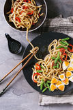 Stir fry udon noodles stock photos