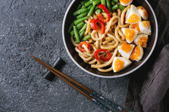 Stir fry udon noodles stock photo