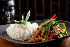Stir Fry vegetable/Chicken with Rice Stock Photography