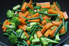 Stir Fry Vegetables. Stir frying is a Chinese cooking technique in which ingredients are fried in a small amount of very hot oil while being stirred in a wok stock images