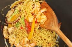 Stir fry in wok stock image