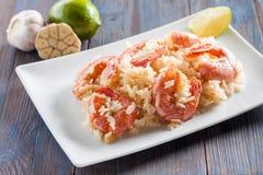 Free Stir Frying Rice, Shrimp, Lime And Garlic Royalty Free Stock Image - 54768426