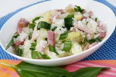 Stir risotto. Wild stir risotto with ham and asparagus Stock Images