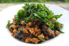 Stirfried pork with basil. Spicy stirred fried pork with garlic and basil.Thai style Royalty Free Stock Photography