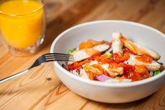 stirfry糖醋鸡的菜 健康低热值lu 免版税库存照片