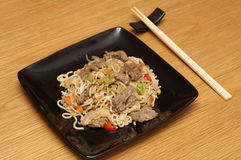 Stirfry beef chow mein Stock Photo