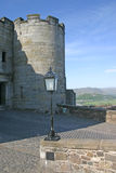 Stirling Castle. Architectural details of turret on Stirling castle with countryside in background, Scotland stock image